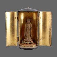 Miniature Buddhist Shrine Japanese Lacquer Gilt Wood 19th C.