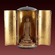 Zushi Buddhist Shrine Japanese Lacquer Gilt Wood 19th C.