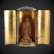 Zushi Buddhist Shrine Japanese Lacquer Gilt Wood 19th C.