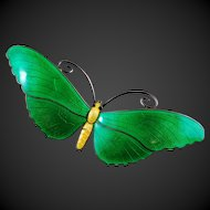 VINTAGE Butterfly Enamel Brooch 925 Sterling Silver LARGE Green