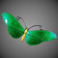 VINTAGE Butterfly Enamel Brooch 925 Sterling Silver LARGE Green