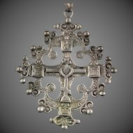 Renaissance Revival 800 Silver Pendant Cross with Heart