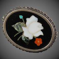 Pietra Dura Italy Stone Brooch 800 Silver White Rose