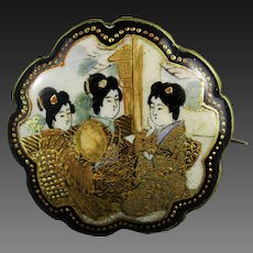 Satsuma Pottery Brooch Geisha