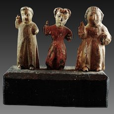 Three Spanish Colonial Santos Statue Wood Carving Painted