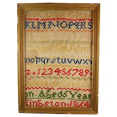 Early Canadian Sampler Needlework 1864 Kingston Ontario