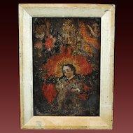 19th Century Spanish Colonial Religious Painting on Tin Retablo