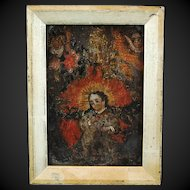 19th Century Spanish Colonial Religious Painting on Tin Retablo