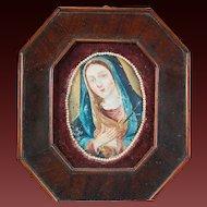 Mary Madonna Painting on Metal Spanish Colonial 19th Century Retablo