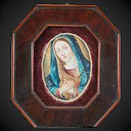 Mary Madonna Painting on Metal Spanish Colonial 19th Century Retablo