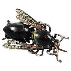 Victorian Bug Brooch Insect Jewelry Blue Tigers Eye Hawk Eye