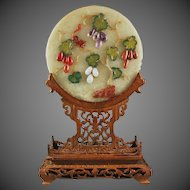 Chinese Gemstone Table Screen on Stand Squirrel