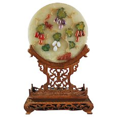 Fabulous  Chinese Gemstone  Table Screen on Stand
