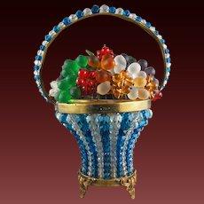Bohemian Czechoslovakia Glass Lamp Basket of Fruit