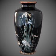 Japanese Cloisonne Enamel Vase Iris' 19th Century