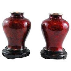 J. Ando Jubei Pair Vases in Original Box Japan C. 1920 Ginbari Enamel Cloisonne