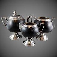 Coconut Silver Three Piece Tea Set Teapot Colonial