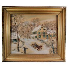 Signed American Folk Art Watercolor Painting Winter Homestead
