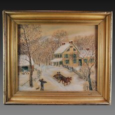 Signed American Folk Art Watercolor Painting Winter Homestead