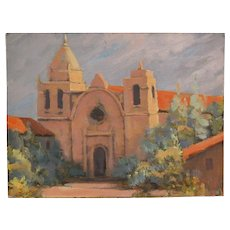 James Gordon Merbs California Art Oil Painting Carmel Mission
