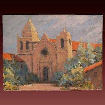 James Gordon Merbs California Art Oil Painting Carmel Mission