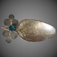 Spanish Colonial LARGE Shawl Pin Tupo Silver Spoon