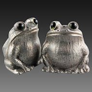 Sterling Silver FROGS English Novelty Salt and Pepper Shakers