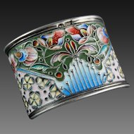 Russian Enamel Silver Gilt Napkin Ring Moscow 1908 – 1926