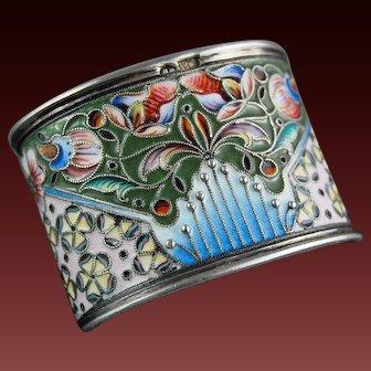 Russian Enamel Silver Gilt Napkin Ring Moscow 1908 – 1926