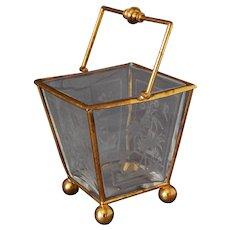 Victorian Engraved Glass English Christopher Dresser Sugar Basket Arts and Crafts