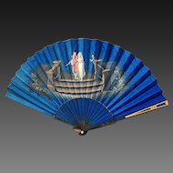 19th Century French Silk Wood Hand Painted Fan ROYAL BLUE