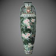 Japanese Moriage Ceramic Studio Pottery Hand Painted Art Nouveau Vase