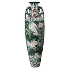 Japanese Moriage Ceramic Studio Pottery Hand Painted Art Nouveau Vase
