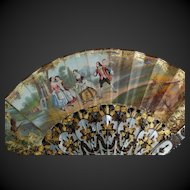 19th Century French Fan Hand Painted Courting Scene