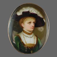 Porcelain Miniature Portrait Painting Silver Gold Buckle