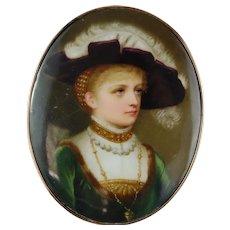 Porcelain Miniature Portrait Painting Silver Gold Buckle