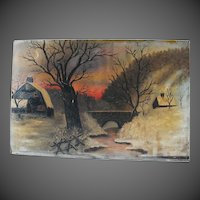 19th Century Vermont Oil Painting Primitive Signed American Art