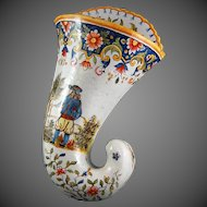 Quimper French Faience Pottery  19th C. Coronet Wall Pocket Vase Rouen