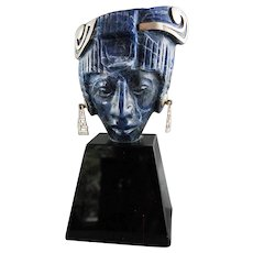 Mexican Blue Sodalite Obsidian Sterling Sculpture Aztec Mask