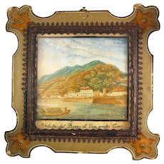 19th C.  Italian Silk Embroidery Sampler Watercolour Lake Como Italy