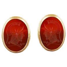 Vintage Cufflink Set Intaglio Carnelian Agate Gemstone