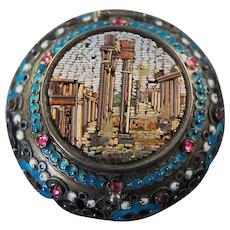 Italian Micro Mosaic Enamel Pill Box Roman Forum