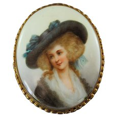Victorian Porcelain Painted Brooch Lady with Hat