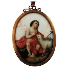 Painting on Porcelain Plaque Reliquary Biblical Jesus Lamb