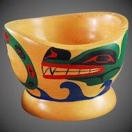 Northwest Coast Native Bowl Cedar Painted Cowichan