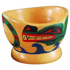 Northwest Coast Native Bowl Cedar Painted Cowichan