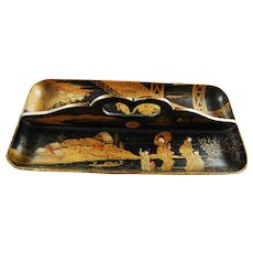 Victorian English Paper Mache Chinoiserie Pen Tray