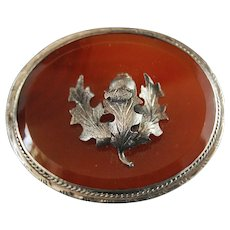 Scottish Victorian Agate Silver Thistle Brooch