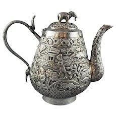 19th C. Silver Teapot India Presentation Piece Cobra Handle