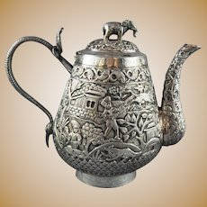19th C. Silver Teapot India Presentation Piece Cobra Handle